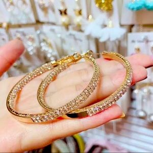 Big Gold Rhinestone Hoop Earrings